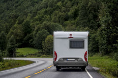 Vacation in Camper Van. Camper Van among mountains in Norway Stock Image