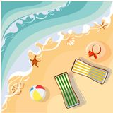 Vacation card with beach and deckchairs. Holidays background with sea coast and chaise-longues. Vector top view summer illustration stock illustration