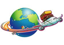 Vacation 02. A cartoon plane is flying with luggage sets tied on its top Stock Images