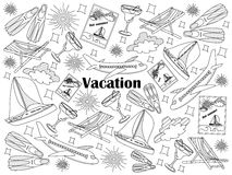 Vacation colorless set vector illustration. Vacation design colorless set vector illustration. Coloring book. Black and white line art Royalty Free Stock Images