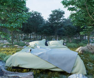Vacation concept background with bed and evening forest Stock Photos