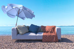 Vacation concept background with interior elements and sea beach Stock Photography