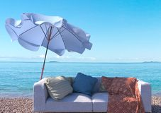 Vacation concept background with interior elements and sea beach Stock Images