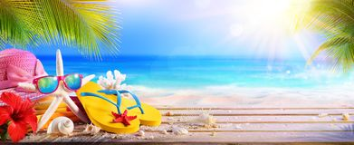 Vacation Concept - Beach Accessories On Table Royalty Free Stock Image
