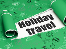 Vacation concept: black text Holiday Travel under the piece of  torn paper Royalty Free Stock Image