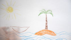 Vacation concept. Child hand drawing island with palm. Vacation concept stock footage