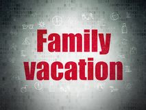Vacation concept: Family Vacation on Digital Data Paper background. Vacation concept: Painted red text Family Vacation on Digital Data Paper background with Stock Image