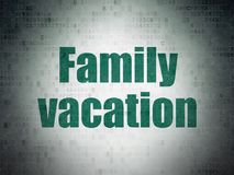 Vacation concept: Family Vacation on Digital Data Paper background. Vacation concept: Painted green word Family Vacation on Digital Data Paper background Royalty Free Stock Photo