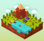 Vacation concept in isometric 3d. Flat design nature summer landscape illustration with camping, lake, hills, mountains, bonfire, trees, boat and fisherman Royalty Free Stock Photos