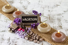 Vacation concept with lavender Stock Photo