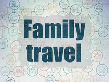 Vacation concept: Family Travel on Digital Data Paper background. Vacation concept: Painted blue text Family Travel on Digital Data Paper background with  Scheme Stock Images