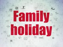 Vacation concept: Family Holiday on Digital Data Paper background. Vacation concept: Painted red text Family Holiday on Digital Data Paper background with  Hand Royalty Free Stock Image
