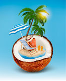 Vacation concept. Palm tree, suitcase and an umbrella Stock Image
