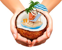 Vacation concept. Palm tree, suitcase and an umbrella Royalty Free Stock Photos