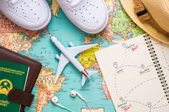Vacation concept. Planning items for vacation trip. Vacation concept. Planning items for vacation trip royalty free stock photography