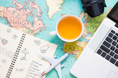 Vacation concept. Planning items for vacation trip. Vacation concept. Planning items for vacation trip stock photos