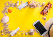 Vacation concept. Sand, seashells and accessories royalty free stock images