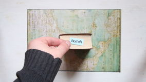Vacation concept, text and map created by Claude Bernou, published in 1681. Vacation text and map created by Claude Bernou, published in 1681. Art composition stock footage