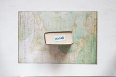 Vacation concept, text and map created by Claude Bernou, published in 1681. Royalty Free Stock Photo