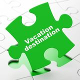 Vacation concept: Vacation Destination on puzzle background. Vacation concept: Vacation Destination on Green puzzle pieces background, 3D rendering Royalty Free Stock Image