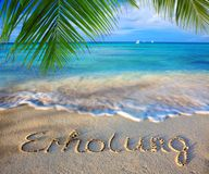 Relaxation concept written on sand. Vacation concept. Word relaxation written on the sand near the sea Royalty Free Stock Photos