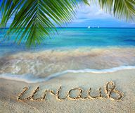 Vacation concept written on sand. Vacation concept. Word vacation written on the sand near the sea Royalty Free Stock Photo