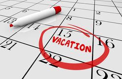 Vacation Date Travel Day Trip Circled Calendar Stock Image