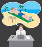 Vacation Daydream. Office worker daydreaming about being on a tropical beach Stock Photos