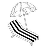 Vacation deck chair umbrella black white isolated illustration Stock Photos