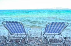 Deck chair. Deckchair near sea, with sea view Stock Photo