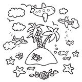 Vacation design elements. Freehand drawing - paradise island in fish tank, flying airplanes - concept of dream about vacations. Outline drawing good for coloring Royalty Free Stock Image