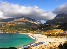 Vacation Destination Plakias Beach Crete. Scenic view on beautiful mountains and beach in Plakias - Vacation destination on Crete island, Greece Stock Images