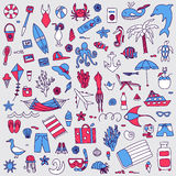 Vacation doodles set Royalty Free Stock Photo