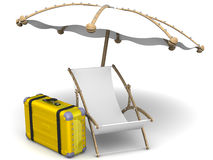 Vacation. Empty sunbed, umbrella and yellow suitcase on a white surface. The concept of vacation trip. . 3D Illustration vector illustration