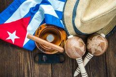Vacation en el concepto de Cuba, artículos relacionados en la tabla Foto de archivo libre de regalías
