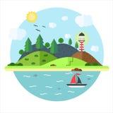 Vacation en mer avec le phare, colline, arbre, montagne, poisson Images libres de droits