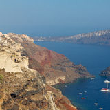 In vacation    europe cyclades santorini old town white and the Royalty Free Stock Photo