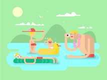 Vacation family design flat Stock Photos