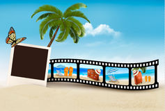 Vacation film tape on a beach. Vector Stock Photography