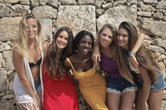 Vacation. Five beautiful women on vacation Royalty Free Stock Photo