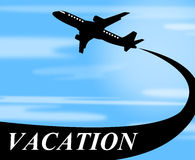 Vacation Flights Means Plane Travel And Air Royalty Free Stock Photos