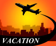 Vacation Flights Means Time Off And Aeroplane Royalty Free Stock Photos