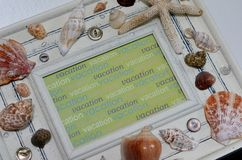 Vacation Frame with Shells Stock Photography