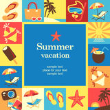 Vacation frame. Summer vacation frame template card. Vector background Stock Image