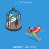 Vacation getaway hard work flat 3d vector isometric Royalty Free Stock Image
