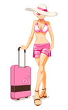 Vacation girl. Sexy girl at swim bikini with suitcase on tropical vacation Royalty Free Stock Photo
