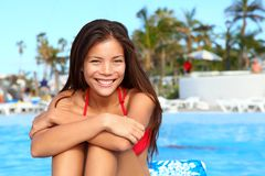 Vacation girl at pool Royalty Free Stock Image