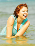 Vacation. Girl in water having fun on the sea. Royalty Free Stock Photography