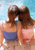 Vacation Girls. Back shots of two girls on a tropical vacation dipping their feet into a swimming pool Stock Image