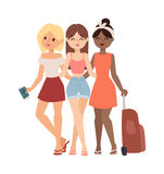 Vacation girls friends vector illustration. Royalty Free Stock Image